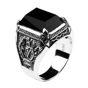 Black Onyx 8 انگشتر عقیق سیاه
