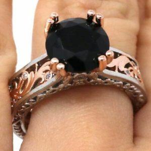 Black Onyx 10 انگشتر زنانه عقیق سیاه