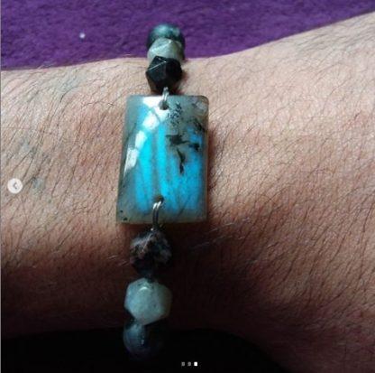Code 11 دستبند با سنگ لابرادوریت - جاسپر مشکی - لارویکیت - چشم ببر - جاسپر قرمز