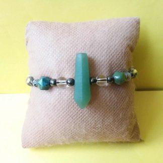 Code 10 دستبند سنگ یشم منشور با کیفیت عالی درجه یک طبیعی - حدید