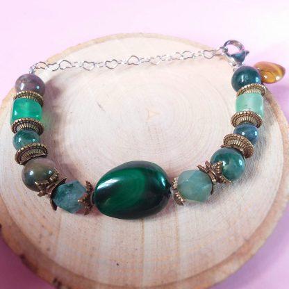 Code 227 خرید دستبند سنگ مالاکیت کنگو و عقیق خزه ای Malachite - Moss Agate