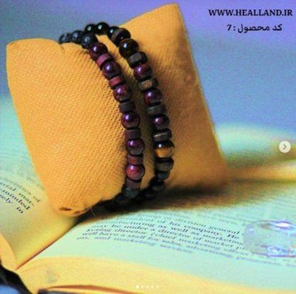Code 7 ست دو دستبند گارنت و چشم ببر - عقیق سیاه - سنگ لاوا - درمانی