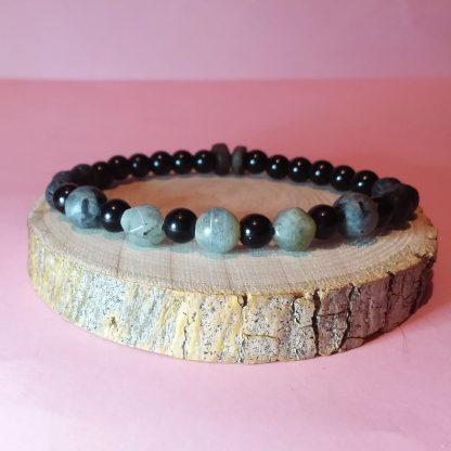 Code 249 دستبند سنگ لابرادوریت و لارویکیت ( لابرادوریت سیاه ) عقیق مشکی - سنگ لاوا
