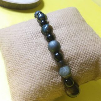 Code 269 خرید دستبند زنانه تیره چشم ببر حدید ، عقیق ، لارویکیت