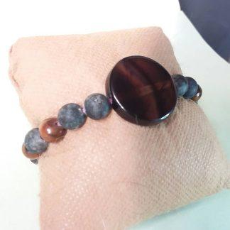 Code 278 خرید دستبند عقیق سلیمانی ، جاسپر ، چشم ببر Solar Chakra