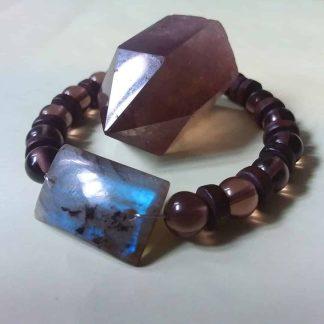 CODE 406 خرید دستبند سنگ لابرادوریت و کوارتز دودی چاکرای ریشه و تاج
