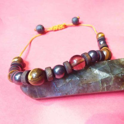002 Code دستبند سنگ کوارتز دودی - حدید - چشم ببر Root Chakra