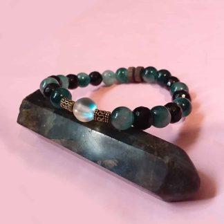 Code 0016 خرید دستبند سنگ ماه ( مون استون ) - جید سبز - عقیق سیاه تراش