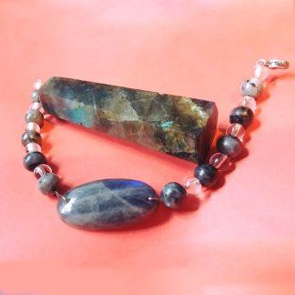 Code 00018 دستبند سنگ لابرادوریت - لابرادوریت سیاه ( لارویکیت ) - انیکس