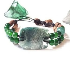 Code 392 دستبند سنگ طبیعی عقیق خزه ای با دانه های مقدس رودراکشا