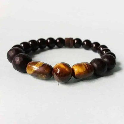Code 0407 خرید دستبند چشم ببر و عقیق - فروشگاه هیلند سنگ های ماه تولد