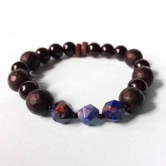 Code 0165 خرید دستبند سنگ سودالیت - لاجورد - عقیق سیاه - انیکس