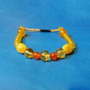 Code 52200 خرید دستبند سنگ سیترین برزیلی کهربا پودری عقیق زرد و نارنجی