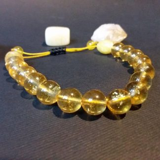 Code 1536 خرید دستبند سنگ سیترین برزیلی دو دانه کهربایه پودری