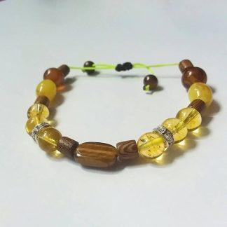 Code 020400 دستبند سنگ چشم ببر تایگر سیترین برزیلی کهربایه پودری عقیق سلیمانی چوب