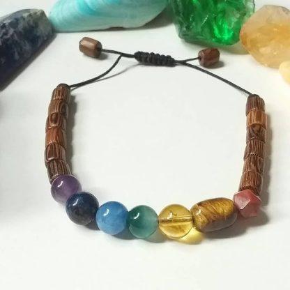Code 362409 خرید دستبند هفت چاکرا اصل با بهترین کیفیت سنگ و چوب زیتون طبیعی