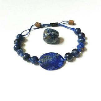 Code 51669 خرید دستبند سنگ لاجورد معدنی Lapis Lazuli بهبود چاکرا گلو و چشم سوم