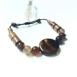 Code 72360 خرید دستبند سنگ عقیق سلیمانی با چوب زیتون Agate