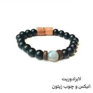 512461 دستبند سنگ لابرادوریت - انیکس Labradorite - Black Onyx