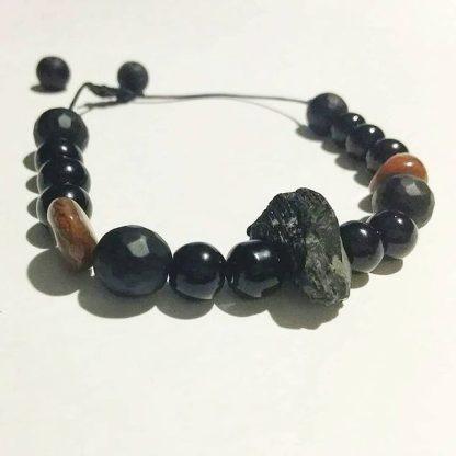 Code 235104 خرید دستبند تورمالین سیاه ، سنگ خون ، انیکس Black Turmaline