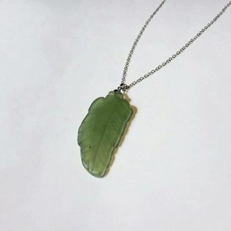 Code 459600 خرید آویز سنگ یشم افغان با تراش برگ Jade - Nephrite