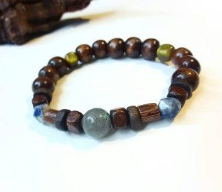 J20 دستبند سنگ لابرادوریت ، سودالیت ، چشم ببر ، چوب زیتون Labradorite