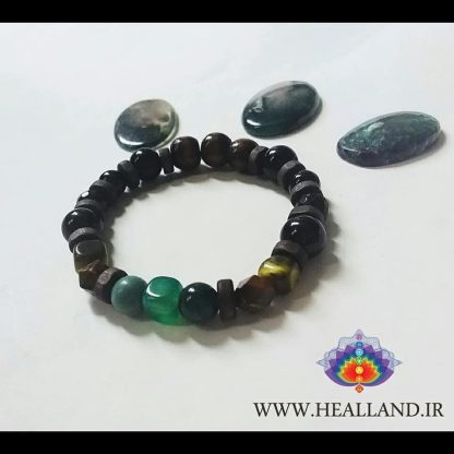 Code j021 دستبند سنگ عقیق سبز ، یشم ، آونتورین ، چشم ببر - Green Agate