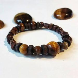 J15 دستبند سنگ چشم ببر تایگر آفریقایی معدنی تراش ، چوب زیتون ، چوب هایه دیگر