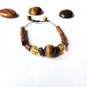 J18 دستبند سنگ چشم ببر تایگر آفریقایی تراش ، سیترین برزیلی ، چوب زیتون