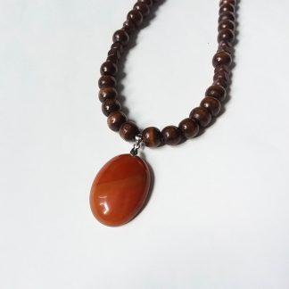 J04 خرید گردنبند سنگ عقیق سلیمانی سرخ - Red Agate - بهبود چاکرای ریشه