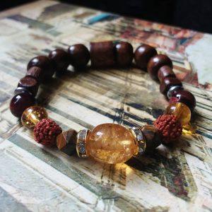 J48 دستبند سنگ سیترین ، چشم ببر ، دانه رودراکشا ، چوب زیتون بالا ترین کیفیت سنگ