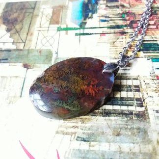 J39 سنگ عقیق شجر دریایی با منظره زیبا - بهبود چاکرای خاجی - ریشه - قلب