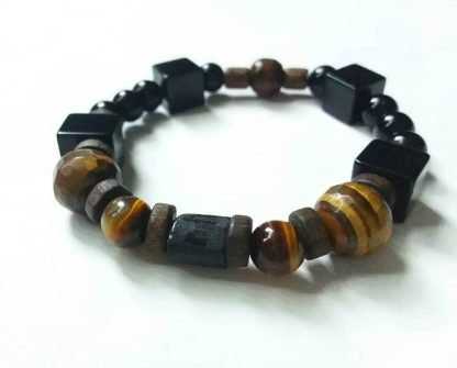 J56 دستبند سنگ تورمالین سیاه ، چشم ببر ، عقیق سیاه تراش مکعب ، انیکس