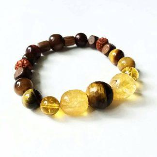 J42 دستبند سنگ چشم ببر تایگر آفریقایی تراش ، سیترین برزیلی ، دانه رودراکشا ، چوب زیتون