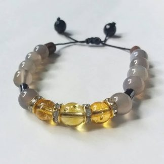 J066 دستبند سنگ سیترین ، عقیق کبود ، حدید - Citrine - Hematite