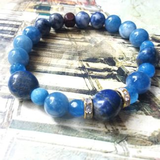 Code 0051669 دستبند سنگ لاجورد ، جید آبی - Blue Jade - Lapis Lazuli
