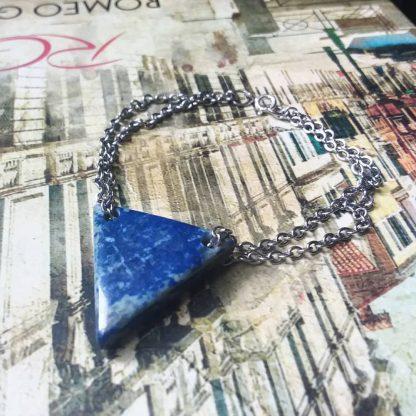 Code 05109 دستبند نقره سنگ لاجورد - Lapis Lazuli - چاکرای گلو - چشم سوم
