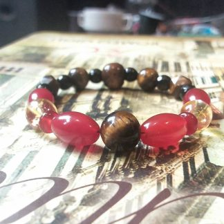 J164 دستبند سنگ عقیق سرخ ، چشم ببر ، سیترین ، انیکس تراش - Red Agate