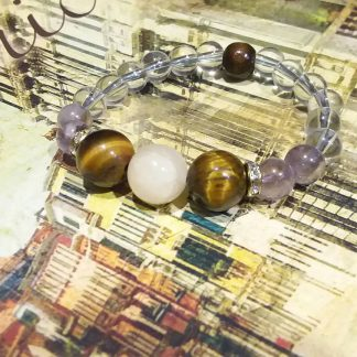 J0204 دستبند سنگ یشم سفید ، چشم ببر ، آمتیست ، انیکس - Onyx