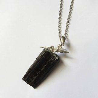 ode T10 راف سنگ تورمالین سیاه , آویز نقره فرشته ۹۲۵ عیار